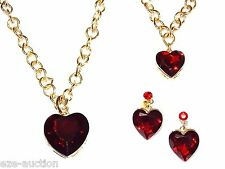 Red Ruby Heart Crystal Drop Prom SET Including Necklace, Bracelet and Earrings