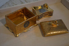 Rare Le Mieux 24K and Platinum China Cigarette Box  With 4 Trays Scroll Design