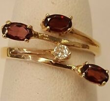 BRAND NEW 14K YELLOW GOLD GENUINE GARNET & DIAMOND LADIES RING SIZE 6