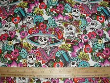 Cotton Fabric Alexander Henry Catrina Chiquita skulls skeletons natural BTY