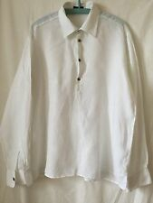 Men's WHITE Linen Shirt By MESSON (Italy) Size XL