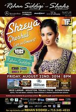 "SHREYA GHOSHAL ""LIVE IN CONCERT"" 2014 HOUSTON TOUR POSTER-Filmi Music, Bollywood"