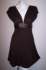 Forever 21 Dress S Brown Stretch Knit Braided Self Belt Empire Waist Boho Mini S