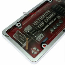 Chrome Plastic License Plate Tag Frame +Tinted Shield+Bolts+Caps for Car-Truck