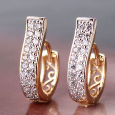 Sparkle 18K Gold Filled CZ Sapphire Ear Stud Earrings Hoop Women Fashion Jewelry