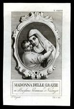 santino incisione 1800 MADONNA DELLE GRAZIE in BASSANO