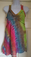 HIPPY BOHO TIE DYE GYPSY TOP BLOUSE HIPPIE BAY  208b  size 6