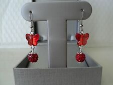 SHAMBALLA CRYSTAL BEADS WITH ACRYLIC BUTTERFLY SILVER EARRINGS (RED)
