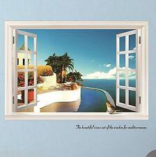 WINDOW SEA VIEW MURAL HUGE 3D WALL ART STICKER VINYL DECAL HOME DIY DECOR