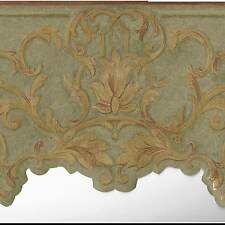 Victorian Gold Leaf Scrolls - Green Background - ONLY $6 - Wallpaper Border A333