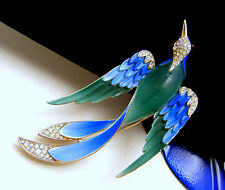 Crown Trifari Blue Green Enamel Bird Brooch Pave Set Rhinestones Red Cab Eyes