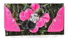 PINK CUTE WESTERN COWGIRL CAMO BLING RHINESTONE FLOWER LADIES TRIFOLD WALLET
