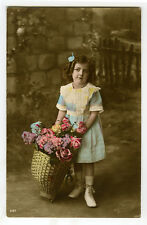 1910s Children Child Long Curls CUTE GIRL French photo postcard