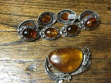 Chinese Amber bracelet And Brooch 民国老银琥珀手链加胸针 #20140300
