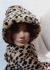 Hat Women's Leopard Print Plush Faux Fur Neck Wrap Scarf Set 2 Pcs SALE