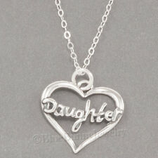 """DAUGHTER in HEART Charm Pendant  925 STERLING SILVER 18"""" chain Necklace"""