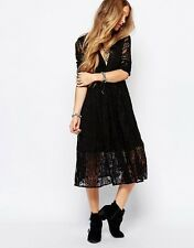 New Free People Mountain Laurel Lace Embroidered in Black Midi Dress  0