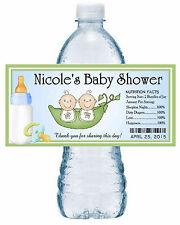 20 TWO PEAS IN A POD TWINS BABY SHOWER WATER BOTTLE LABELS ~ blue ~
