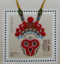 *Limited Edition Chinese NEW Year Monkey 2016 Souvenir Stamp Sheet Canada