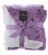 Legacy Decor Sherpa & Micro Fur Floral Embossed Throw Blanket, Comes In 6 Colors