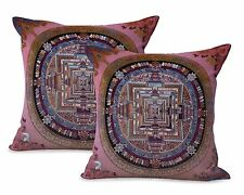 US SELLER-set of 2 Hinduism Buddhism symbol mandala cushion cover pillows for