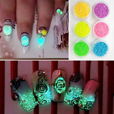 Green Glitter Luminous Nail Art Stickers Tips Decoration DIY Acrylic Manicure