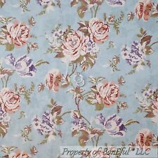 BonEful Fabric FQ Cotton Quilt Blue Rose Flower Toile Victorian French Cottage L