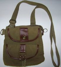 ARMY GREEN CANVAS CROSS BODY HANDBAG PURSE MILITARY ARMY SHOULDER  SHOULDER BAG