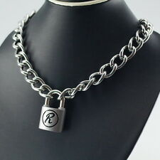 "Padlock Lock R Pendant Charm Sex Pistol Rabbit Punk 19.5"" Choker Chain Necklace"