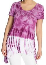 NEW OSO Casuals® Tie-Dyed Knit Short Sleeved Scoop Neck Sharkbite Top - Sz M