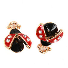 20x New Gold Plated Red&Black Enamel Ladybird Charms Alloy Pendants Findings BS