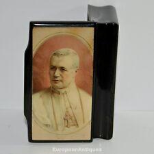 Pope Pius X Prayer Souvenir Confectioner's Jewelry BOX Black Lacquered 1900 's