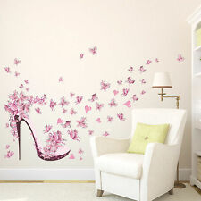 High-heeled Shoes Flower Kids Girl Bedroom Decoration Wall Sticker Decor Decal
