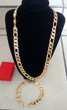 18K SG1207 Men's Gold Figaro Necklace & Bracelet Chain Gift Box Set Christmas