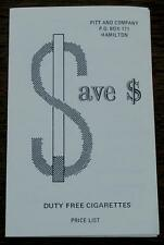 Save Money, Duty Free Cigarettes, Price List, Vintage Pamphlet VGC