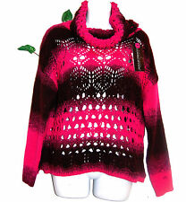 Rinascimento Hot Pink Woman Sexy Warm Italian Sweater Pullover Tops Sz M / L