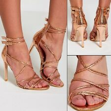 WOMENS LADIES HIGH HEEL ROSE GOLD SNAKE SKIN BARELY ANKLE STRAPPY PARTY SANDALS