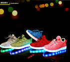 Boys Girls LED Light Up Sport Flats Sneakers Casual Loafer Baby Kids Shoes
