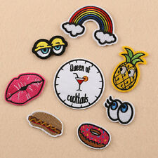 8Pcs Embroidery Rainbow Eyes Lips Sew Iron On Patch Badge Bag Hat Jeans Applique