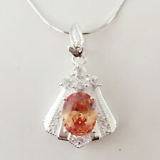 New 925 Sterling Silver Citrine Trapezium Floral Charm Pendant & Necklace Gift