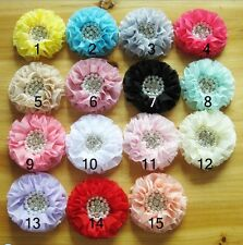 DIY Child Girls RhinestonePearl Flower For Hair Bow No Clip Corsage 15pcs