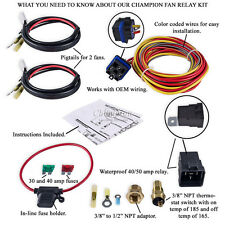 Champion Cooling 180 Degree 40amp Electric Fan Relay Kit for Single or Dual Fans