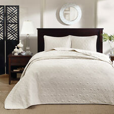 IVORY MATELASSE 3pc King BEDSPREAD SET : COTTON FILL QUILT COVERLET BEDDING