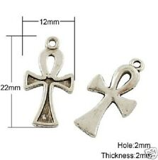 10 x Tibetan Silver Ankh Cross Pendant Charms Gothic Wicca Pagan