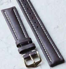 Hirsch 18mm brown leather padded vintage watch band contrasting white stitching