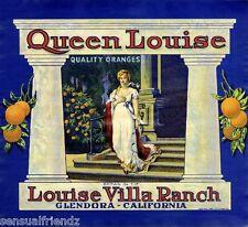 Queen Louise Orange Fruit Crate Label Art Print Vintage Louise Villa Ranch  CA