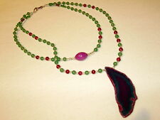 COLLANA IN AGATA E GIADA VERDE CON PENDENTE- NECKLACE WITH GREEN JADE & AGATE