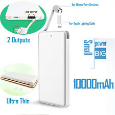 10000mah Mobile Power Bank with Lightning Portable Charger For iPhone Samsung