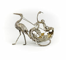 Berthold Muller London Imported Sterling Silver Miniature Chariot & Stork, c1896