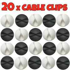 20x Cable Wire Cord Lead Drop Clips Usb Charger Holder Tidy Desk Organiser